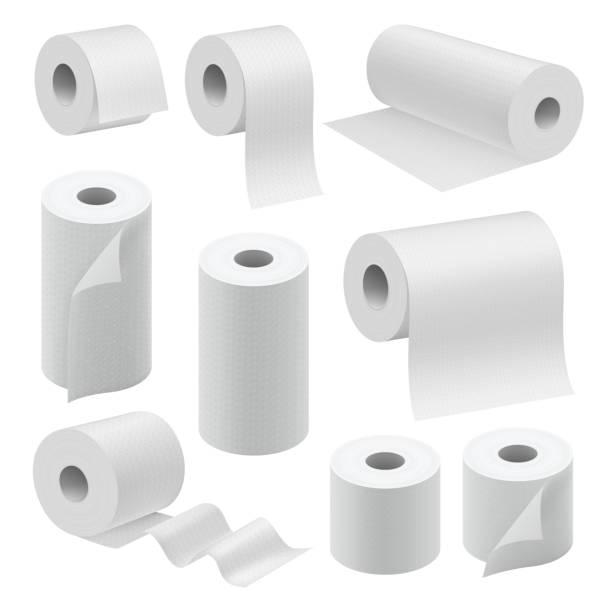 illustrazioni stock, clip art, cartoni animati e icone di tendenza di realistic paper roll mock up set - rotolo