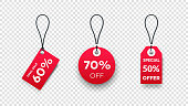 Realistic Paper Sale Tags. Set Of Vector Sale Labels Isolated On Transparent Background. Vector Design Elements.