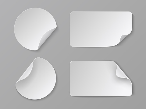 Realistic paper stickers. White adhesive round and rectangular price tags, blank fold corner paper mockup. Vector cardboard labels