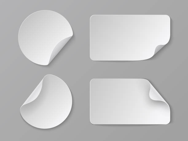 Realistic paper stickers. White adhesive round and rectangular price tags, blank fold corner paper mockup. Vector cardboard labels Realistic paper stickers. White adhesive round and rectangular price tags, blank fold corner paper mockup. Vector cardboard labels set label stock illustrations