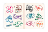 Realistic passport pages with visa stamps. Open foreign passport with custom visa stamps