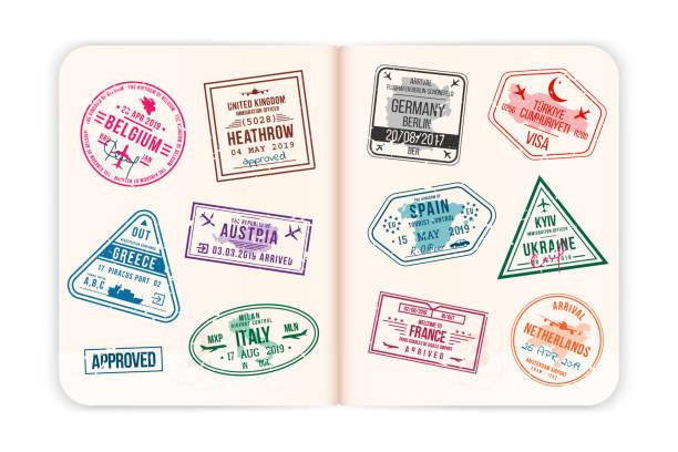 ilustraciones, imágenes clip art, dibujos animados e iconos de stock de páginas realistas del pasaporte con sellos de visa. pasaporte extranjero abierto con sellos de visa personalizadas - viaje a reino unido