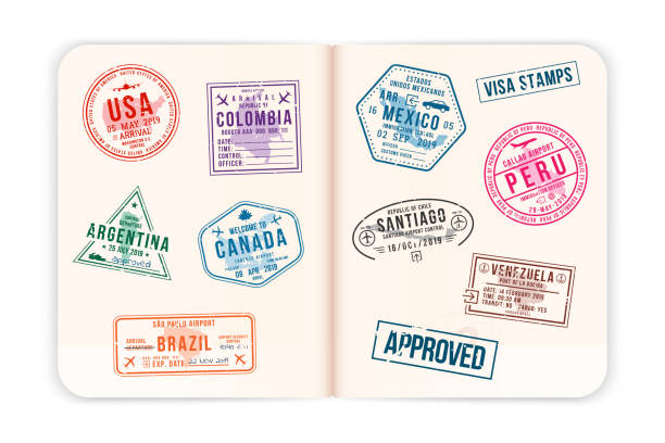 Realistic passport pages with visa stamps. Opened foreign passport with custom visa stamps. Travel concept to American countries Realistic passport pages with visa stamps. Opened foreign passport with custom visa stamps. Travel concept to American countries. Vector airport borders stock illustrations
