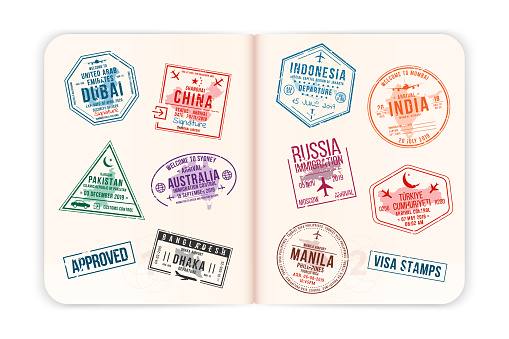 Realistic passport pages with visa stamps. Opened foreign passport with custom visa stamps. Travel concept to Asian and Australian countries. Vector