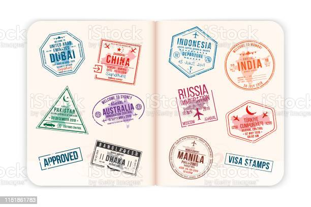 Realistic passport pages with visa stamps opened foreign passport vector id1151861783?b=1&k=6&m=1151861783&s=612x612&h=d3itbxqxhkv5fkncuvuwzxlbgr4jy0bewfm2zbukdro=