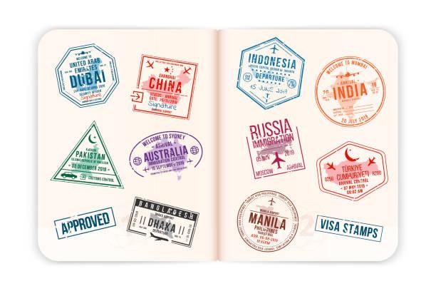 ilustraciones, imágenes clip art, dibujos animados e iconos de stock de páginas de pasaportes realistas con sellos de visado. abierto pasaporte extranjero con sellos de visado personalizados. concepto de viaje a países asiáticos y australianos - pasaporte y visa