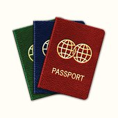 Realistic Passport Set. Isolated On White. Vector