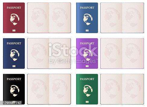 istock Realistic passport vector design illustration isolated on white background 1295667742