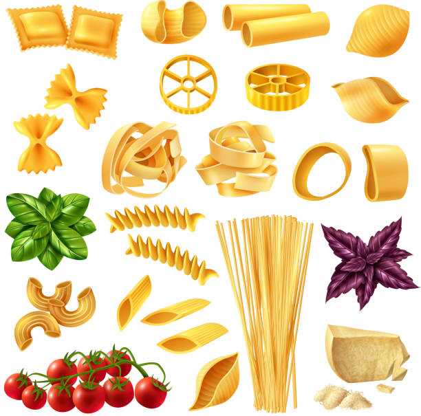 realistic pasta set Realistic set of pasta including penne, fusilli, tagliatelle, farfalle, spaghetti, cheese, tomato and basil isolated vector illustration rotelle stock illustrations