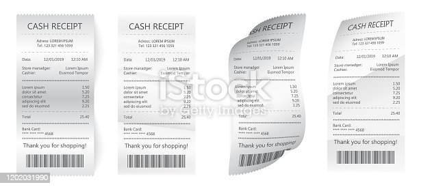 Realistic payment paper bills for cash or credit card. Bill atm template, cafe or restaurant paper financial check. Paper check and financial check isolated. white paper with payment.