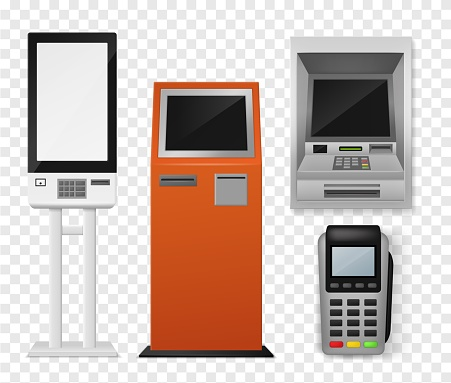 Realistic payment terminal. Atm and self-ordering kiosk, pos payment machine, debit credit card interactive financial 3d vector mockups