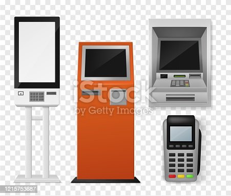 istock Realistic payment terminal. Atm and self-ordering kiosk, pos payment machine, debit credit card interactive financial 3d vector mockups 1215753687