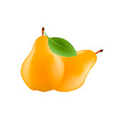 Realistic pear fruit with leaf isolated on white background. Vector illustration.