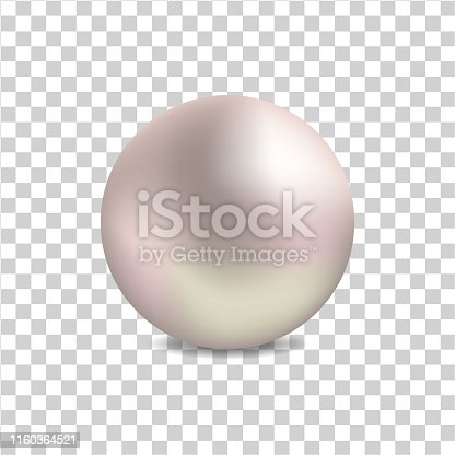 Realistic pearl  for luxury accessories. Decoration pearl logo, icon for cosmetic, jewelry, jewelry shop on white background.