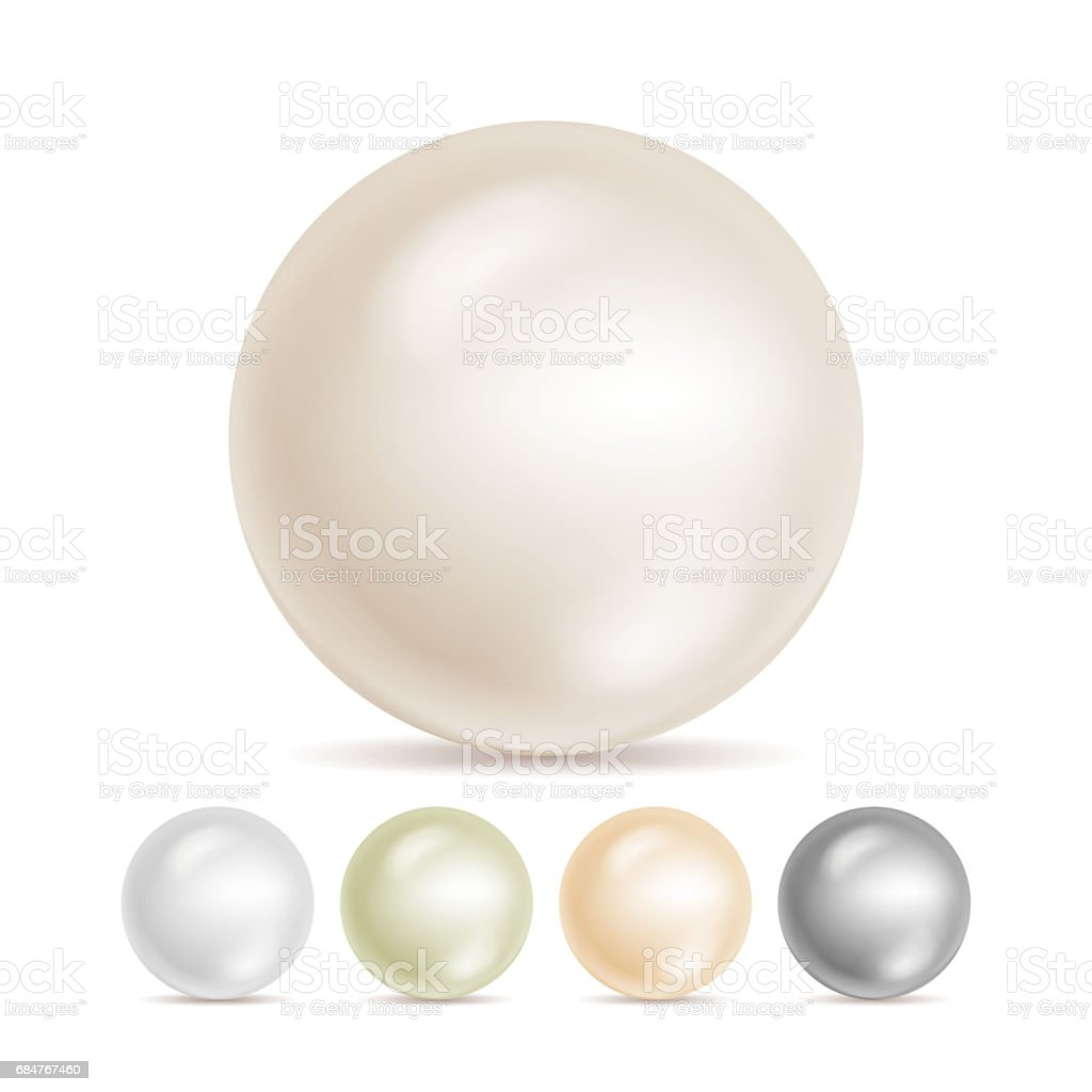 Realistic Pearls Isolated Vector. Set 3d Shiny Oyster Pearl Ball For Luxury Accessories. Sphere Shiny Sea Pearl Illustration vector art illustration