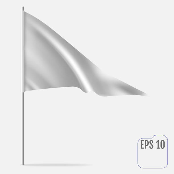 Realistic Pennant Template. Vector triangle flag mockup vector art illustration