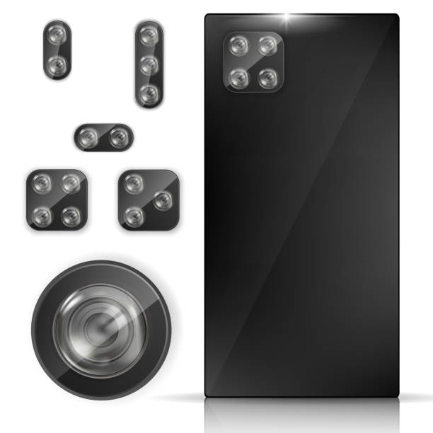 Realistic phone back view with Lens Cameras set vector art illustration
