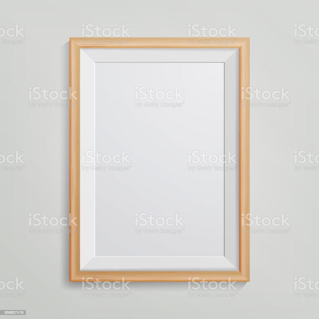 Realistische Foto Frame Vector 3d Leeren Holz Leere Bilderrahmen ...