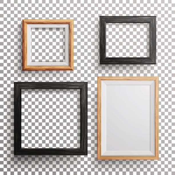 Realistic Photo Frame Vector. 3d Set Square, A3, A4 Sizes Light Wood Blank Picture Frame, Hanging On Transparent Background With Soft Transparent Shadow. Design Template For Mock Up vector art illustration