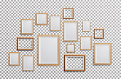 Realistic Photo Frame Vector. Set Square, A3, A4 Sizes Light Wood Blank Picture Frame, Hanging On Transparent Background From The Front. Template For Mock Up.