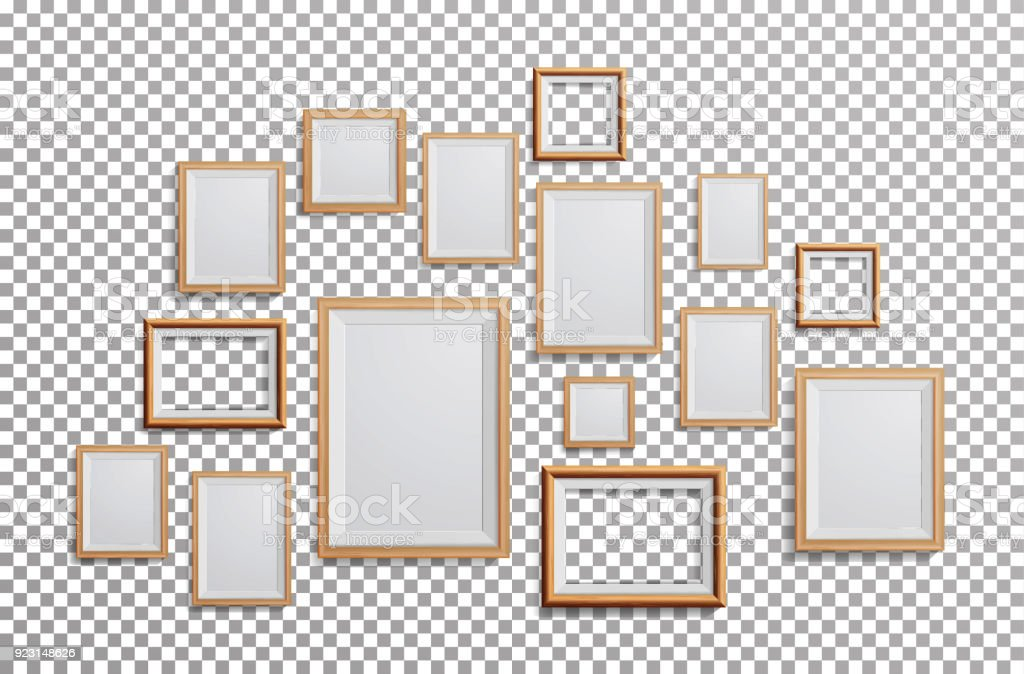 Realistic Photo Frame Vector. Set Square, A3, A4 Sizes Light Wood Blank Picture Frame, Hanging On Transparent Background From The Front. Design Template For Mock Up vector art illustration