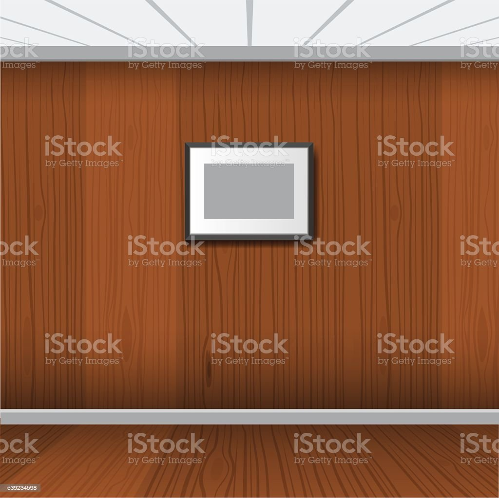 Realistic photo frame with wood interior room. Vector illustration royalty-free realistic photo frame with wood interior room vector illustration stock vector art & more images of abstract
