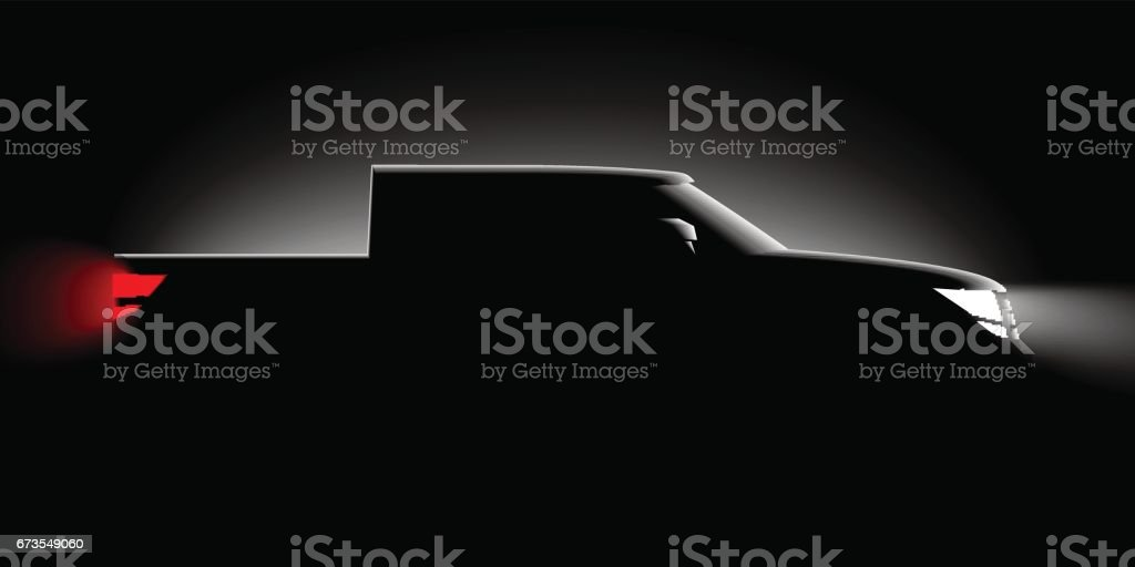 realistic pickup off-road car iin the dark in the spotlight is a side view vector art illustration