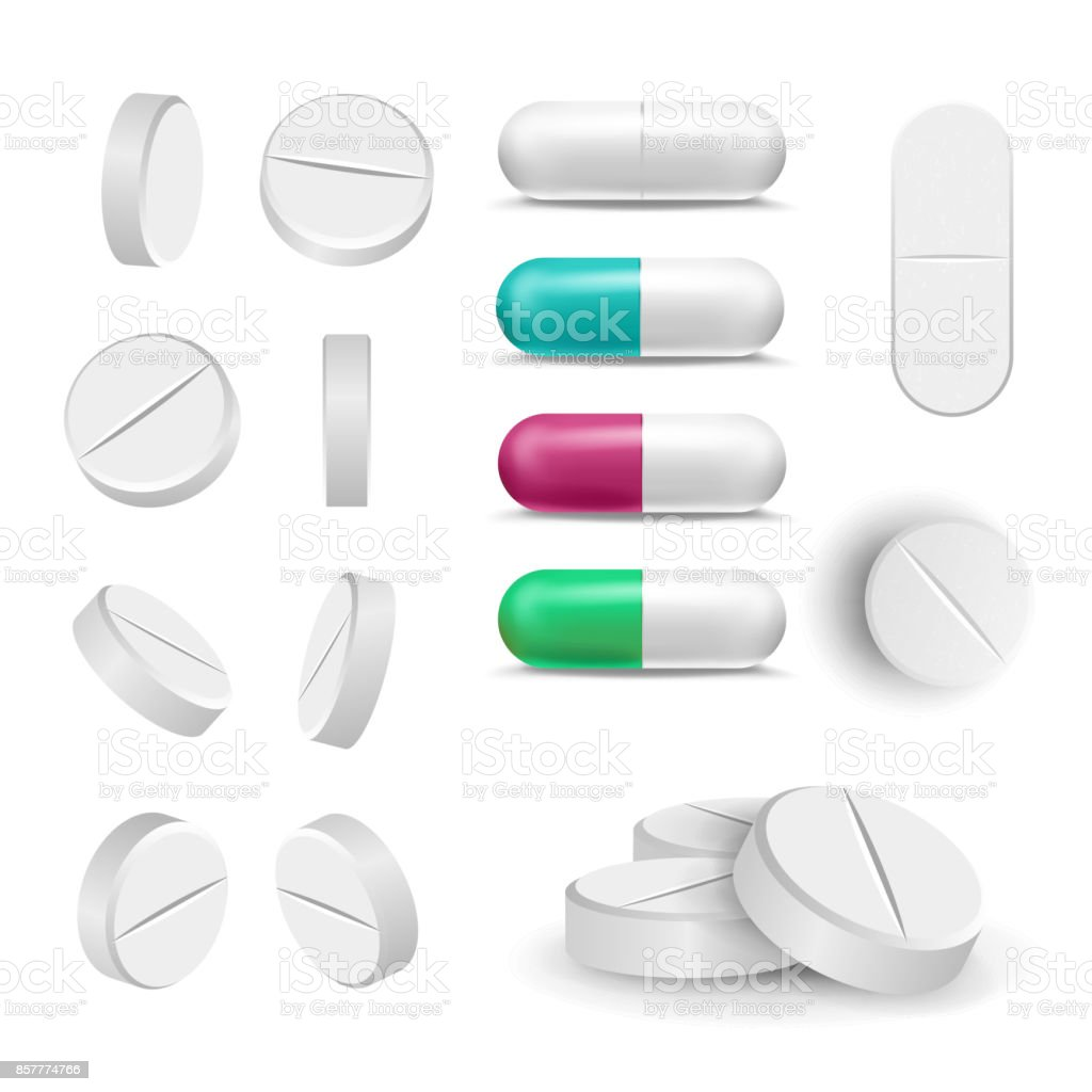 Realistic Pills And Drugs Set Vector. Painkiller, Pharmaceutical Antibiotics. Isolated Illustration vector art illustration