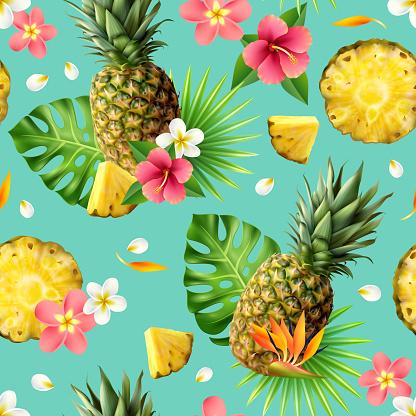 realistic pineapple seamless pattern