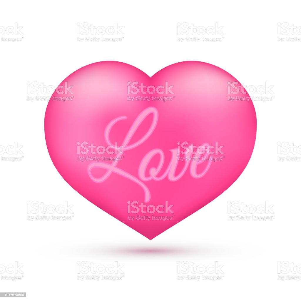 Realistic Pink Heart With Writing Love On It Isolated On White