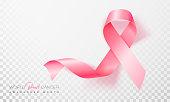 Realistic pink ribbon, breast cancer awareness symbol. Vector illustration