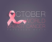 Realistic pink ribbon, breast cancer awareness symbol. Vector illustration