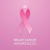 Realistic pink ribbon closeup on pink background, breast cancer awareness symbol. Design template for banner, invitation, poster etc. Stock vector illustration, eps10
