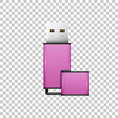 Realistic Pink USB flash drive isolated object on transparent background. Vector Illustration