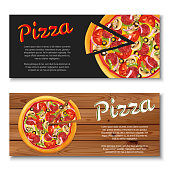 Realistic pizza flyer on wooden and black backgrounds. Two horizontal banners