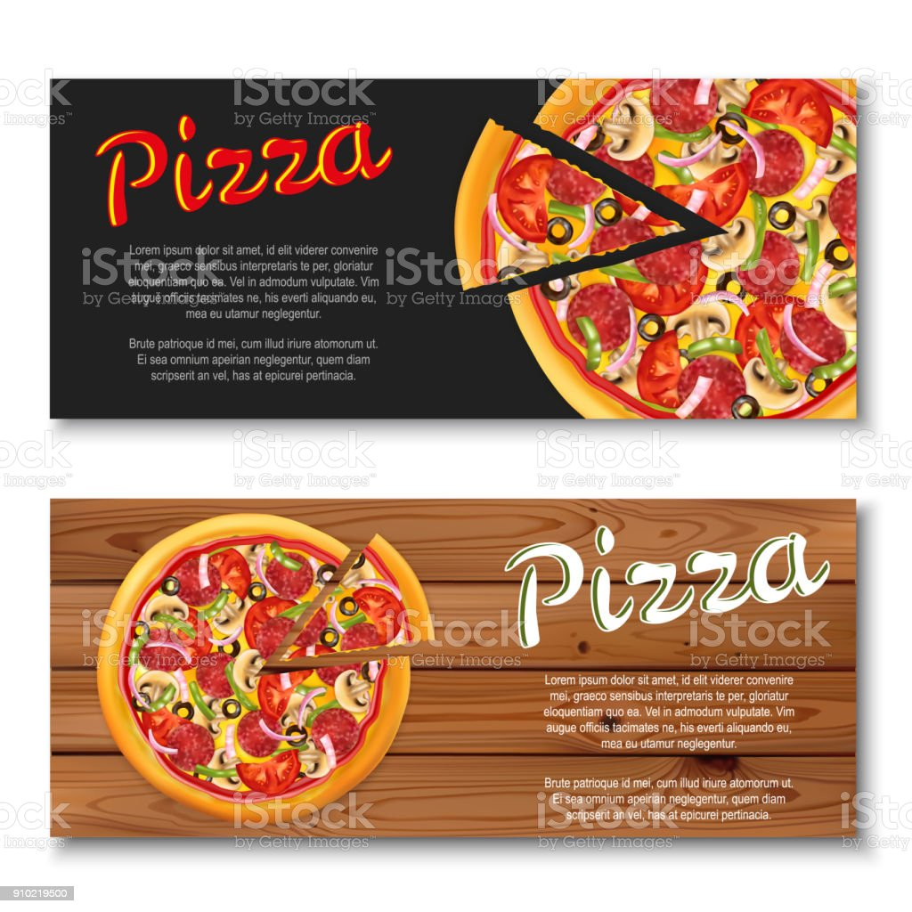 Realistic pizza flyer on wooden and black backgrounds. vector art illustration