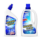 Realistic plastic bottle mockup with label, antibacterial gel laundry detergent for cleaning bathroom, liquid soap toilet cleaner. White package design for your brand. Vector illustration EPS 10.