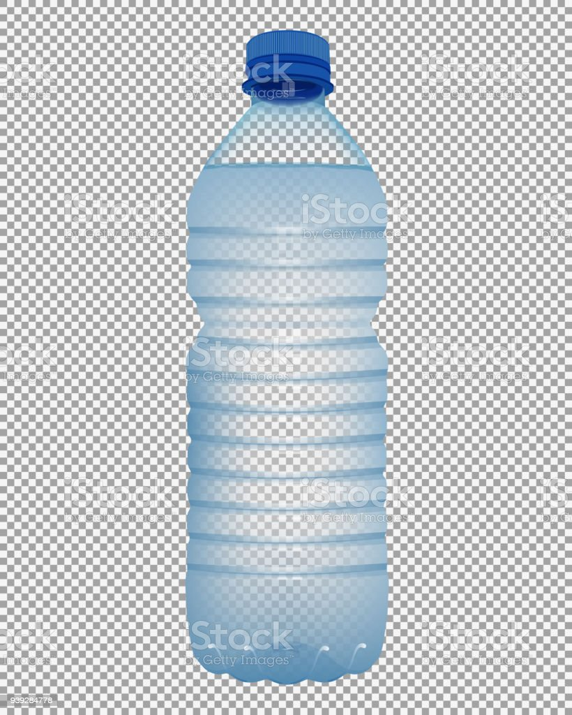 Realistic plastic bottle with water with close blue cap on transparent background vector art illustration