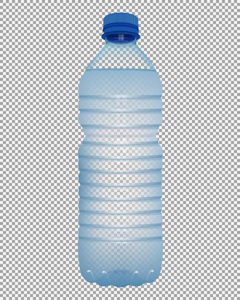 現実的なペットボトルの水で透明な背景に青いキャップを閉じる - ペットボトル点のイラスト素材/クリップアート素材/マンガ素材/アイコン素材