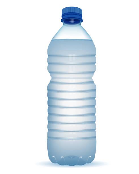 リアルなペットボトルの水で白い背景の青いキャップを閉じる - ペットボトル点のイラスト素材/クリップアート素材/マンガ素材/アイコン素材