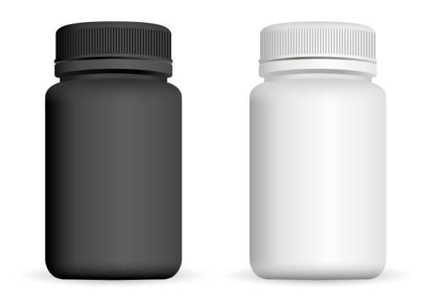 현실적인 플라스틱 병입니다. 블랙 하 고 화이트 3d 벡터 일러스트 레이 션. 서식 파일을 모의 알 약, 캡슐, 마약에 대 한 약 패키지의 설정. - vitamin d stock illustrations