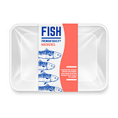 Realistic plastic container with hand drawn mackerel fish label vector design. Container box for mackerel fish illustration