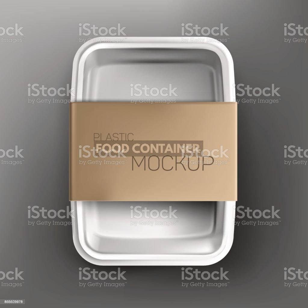 Realistic plastic food container mockup vector art illustration