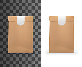 Food paper bag package 3d mockup model template. Vector isolated realistic brown paper bag pouch, folded with sticker label seal, bakery, grocery store or shop and fast food package