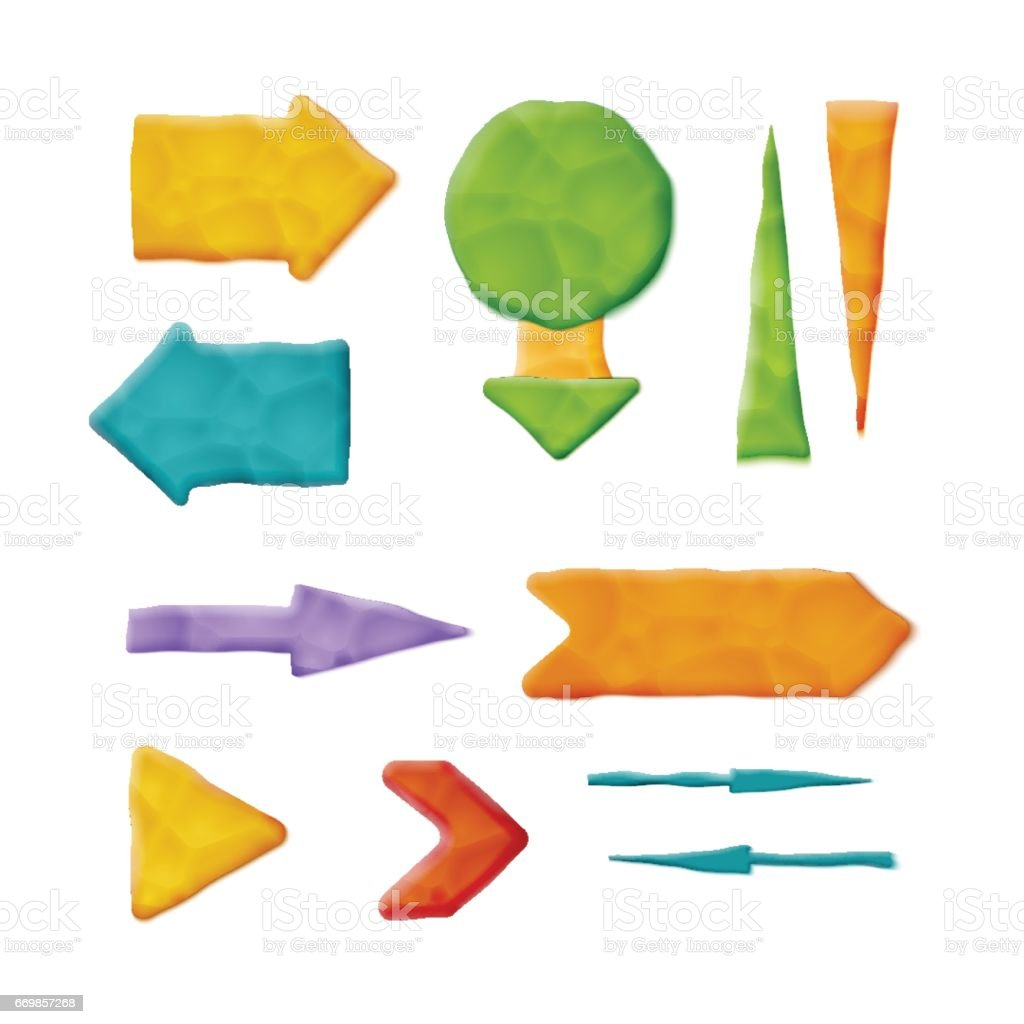 Realistic Plasticine Arrows vector art illustration
