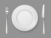 Realistic plate knife fork. Silver cutlery white food empty plate metal fork and knife on dinner table top view isolated vector