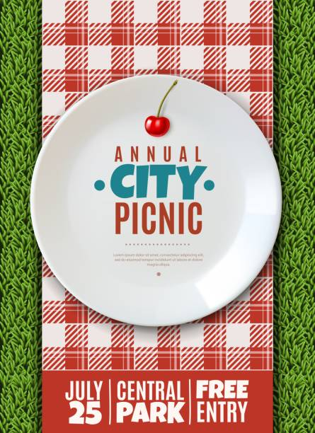 realistic plate poster. vertical poster invitation to the annual city picnic family holiday banner white porcelain plate with the name of the event vertical poster invitation to the annual city picnic family holiday banner white porcelain plate with the name of the event picnic stock illustrations