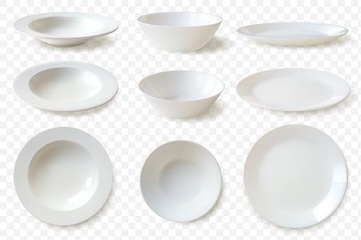 Realistic plates set. set of nine isolated white porcelain plates vector mockup in a realistic style on transparent background dining set of round dishes in different angles convenient templates for your food demonstration.