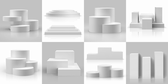 Realistic podium. 3D circular or cube platforms and product base mockup. Isolated geometric compositions for exhibition and presentation. Blank stepped pedestal. Vector templates set