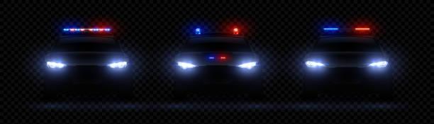 stockillustraties, clipart, cartoons en iconen met realistische politie koplampen. auto gloeiende led lichteffect, zeldzame en front sirene flare, rood en blauw politie licht. vector 3d-set - mist donker auto